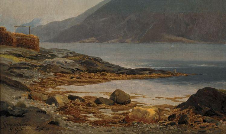 Gjermundshavn in Hardanger. Schilderij in romantische stijl door de Noorse landschapsschilder Hans Gude, 1850.